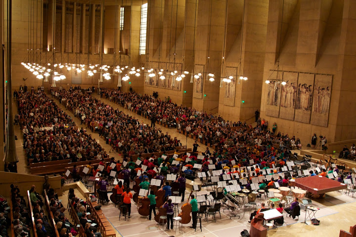 Members of the SBSO and YOLA perform together in a concert at the Cathedral of Our Lady of the Angels In Los Angeles.