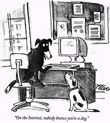 New Yorker cartoon: On the Internet no one knows you're a dog