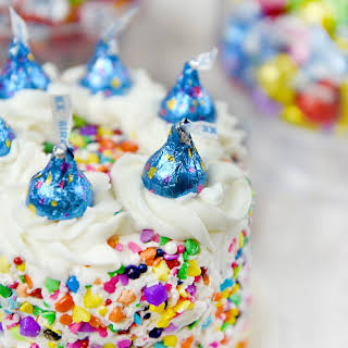 Sprinkle Cake with Hershey's Kisses Birthday Cake Candies.
