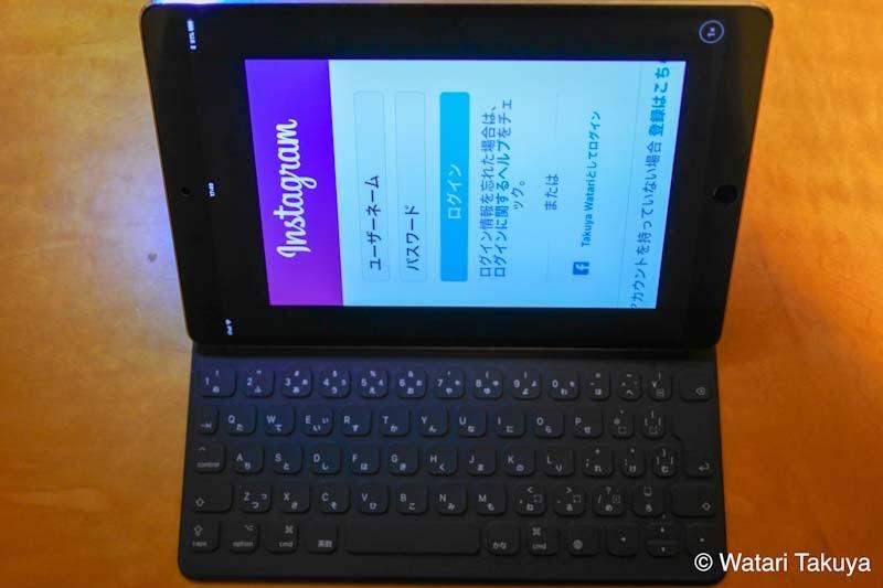 スマートキーボードをつけてあるiPad Pro。Instagramの画面は横向きになっていない