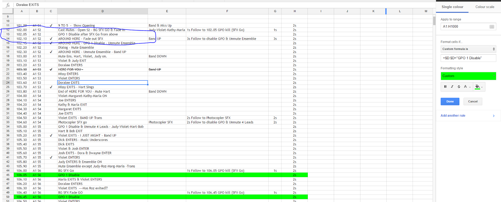 How to color in google docs - Screenshot Attached And An Example Is Circled Farther Down There Are Coloured Rows Behaving As I Want Them Because The Cell In Column D Has Only The Exact