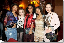 HOLLYWOOD, CA - MARCH 30:  (L-R) Actor/singer Chloe Bailey, singer Sabrina Carpenter, actor Yara Shahidi, actor/singer Halle Bailey, and actor Rowan Blanchard attend the Coach & Rodarte celebration for their Spring 2017 Collaboration at Musso & Frank on March 30, 2017 in Hollywood, California  (Photo by Donato Sardella/Getty Images for Coach)