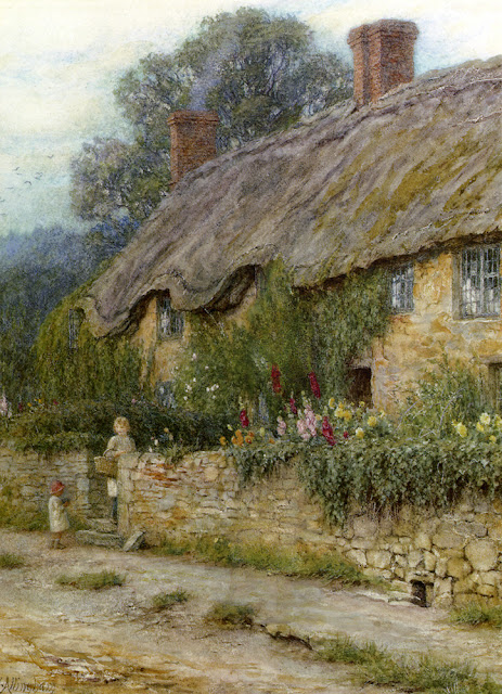 Helen Allingham - A Mother And Child Entering A Cottage