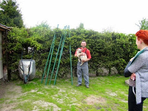 Photo: Tajga w nowym domu - odległego od nas o ok. 10 km. Tajga ma do dyspozycji dom, ogród ale również kojec, który się buduje. Pan był bardzo przejęty adopcją swojego pierwszego psa. Będziemy ich odwiedzać.