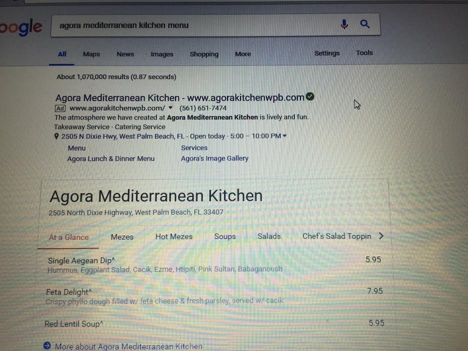 How do I update my restaurant menu on google search? The