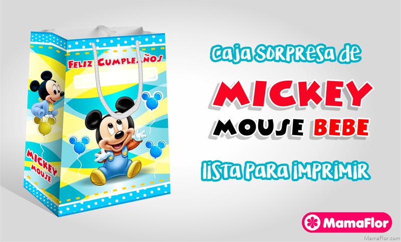 Caja Sorpresa de Mickey Mouse Bebé para Imprimir