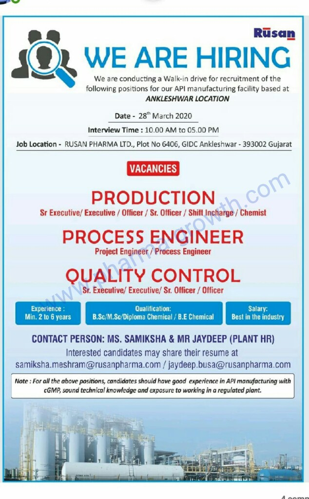 Rusan Pharma – Walk in Interview for Production, Process Engineer, Quality Control on 28th March 2020
