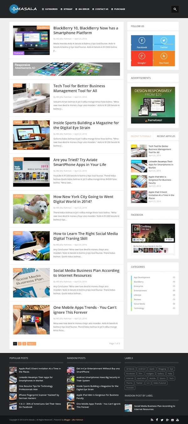 Masala Bloglist Text Template