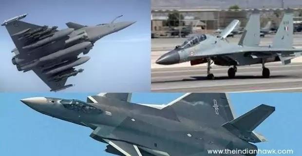 Dassault Rafale and Sukhoi Su-30 MKI and Chengdu J-20 fighter jets collage