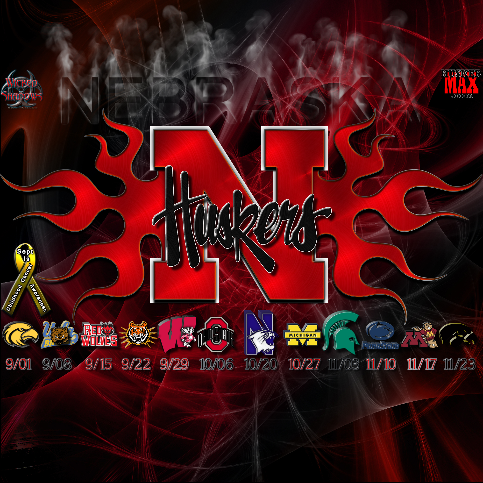 wallpapers by wicked shadows: nebraska huskers 2012 football
