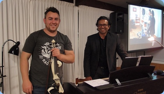 Our guest artists Nick Jones (violin) and Ben Fernandez (keys). Photo courtesy of Dennis Lyons.