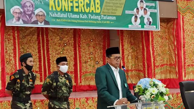 Konfercab NU Padang Pariaman: Rais Syuriah Masrican Tuanku Marajo Basa,  Tanfidziyah Zainal Tuanku Mudo.