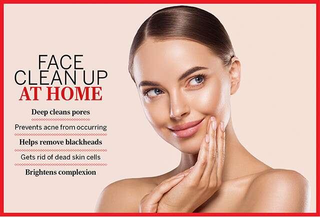 تنظيف الوجه بالكامل في المنزل