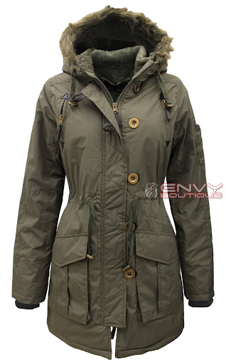 99727 LJK MILITARY CANVAS FAUX FUR HOODED JACKET KHAKI.jpg