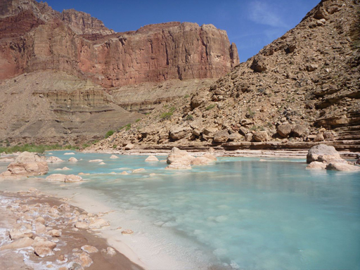 Aquamarine waters of the Little Colorado River at the confluence (Beamer Trail, Grand Canyon – May 2012) – photo by Stephen Lund