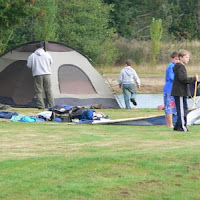 Webelos scouts setting up their camp