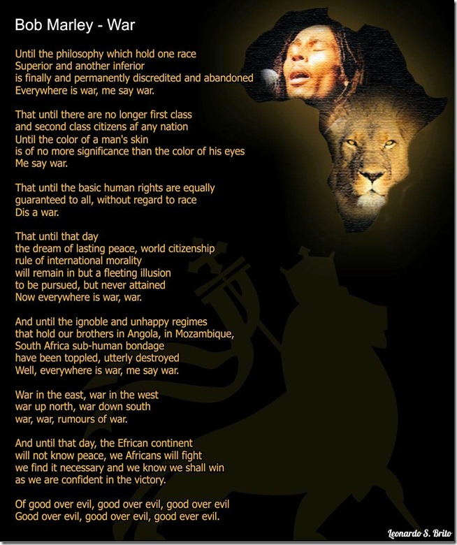 Bob Marley lyrics to the song WAR