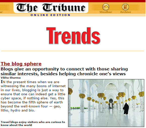 Beontheroad.com featured on Tribune India