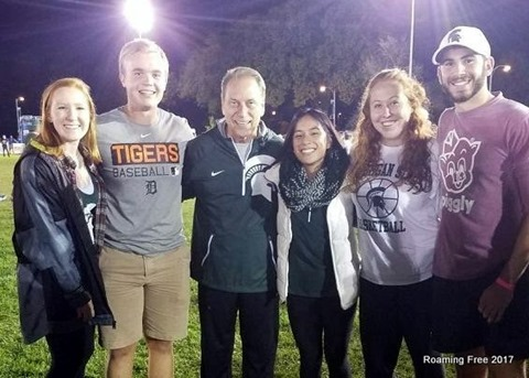 Bryce and friends with Coach Izzo