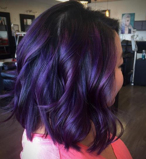Plum hair color a beautiful contrast for woman 2018 3