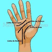 Quirologia, leitura das linhas da palma das mãos.