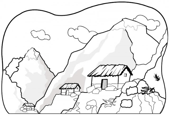 House in the mountains coloring pages