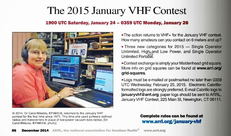 18 JAN 2014 - ARRL January VHF Sweepstakes Contest Score 1,258 - 74 QSO Points and 17 Grid Square Multipliers on 50, 144 and 432 MHz