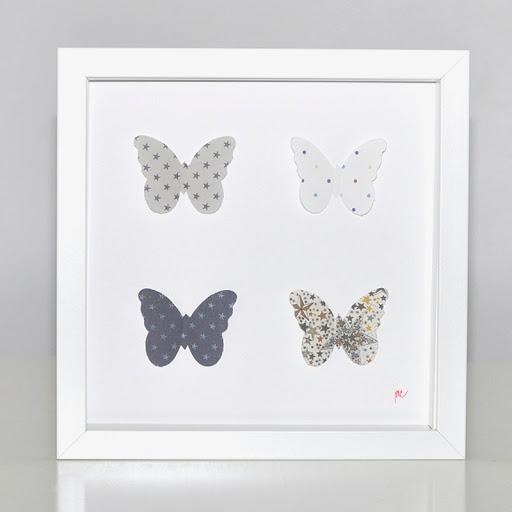 Grand cadre papillons Papillons étoiles beiges Mille Coquelicots