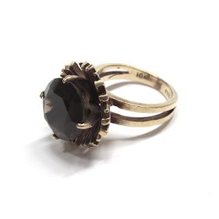 10K Gold & Smoke Quartz Ring