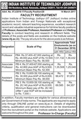 IIT Jodhpur Faculty Recruitment 2017 www.indgovtjobs.in