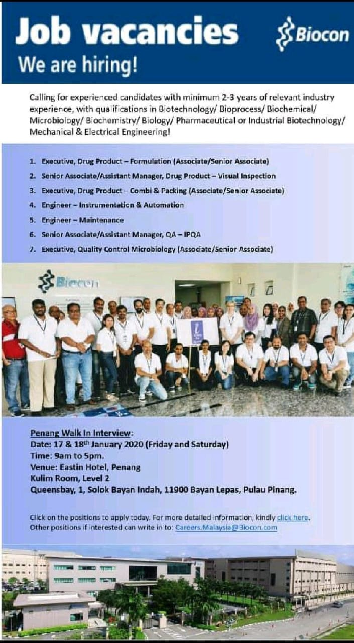 Biocon Ltd - Walk in interview for Multiple Position on 17th & 18th Jan 2020