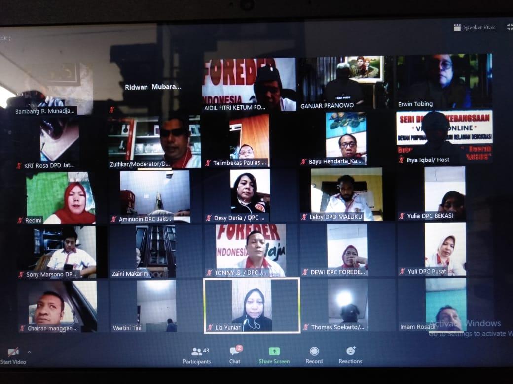 Ormas Foreder Diskusi Bersama Ganjar Pranowo dan Kemensos Via Online, Bahas Penanganan Wabah Corona
