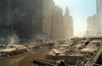 Photo: The rubble left after the WTC towers collapsed on September 11, 2001.