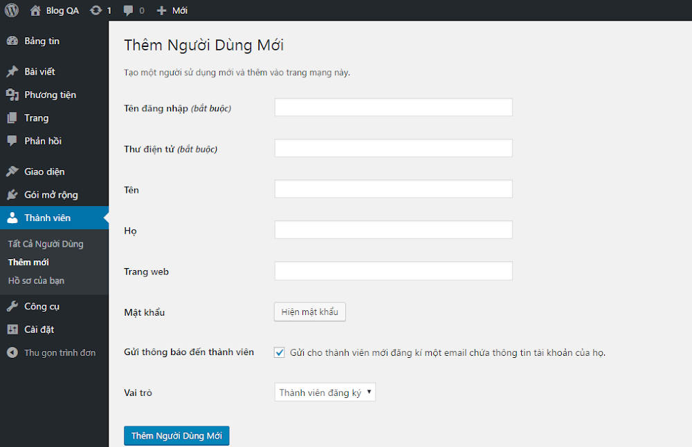 Hinh anh: Trang them nguoi dung moi cua WordPress