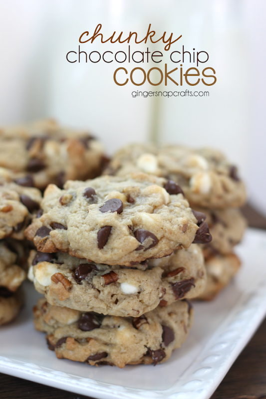 Chunky Chocolate Chip Cookies at GingerSnapCrafts.com #recipes #milk