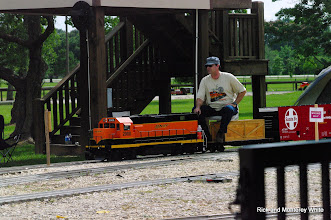 Photo: Brian Campopiano with BNSF 2008 and his new ATSF box car.  HALS - SWLS 2009-0523