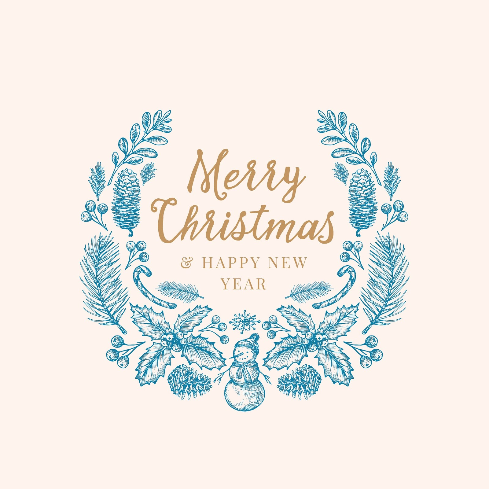 Hand Drawn Christmas Greetings Sketch Wreath Banner Card Template Free Download Vector CDR, AI, EPS and PNG Formats