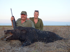 Mr Polyak and his daughter from Hungary with a good tusker at Carmor Plains, Australia Wide Safaris