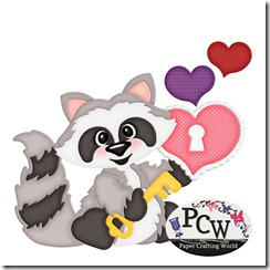 pcw raccoon sitting w key-heart-450