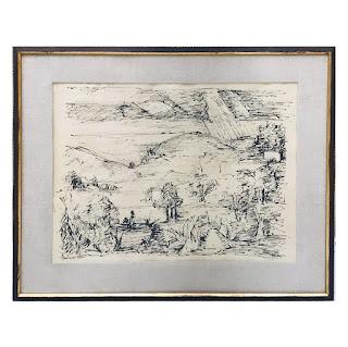 Signed Landscape Lithograph, 1960