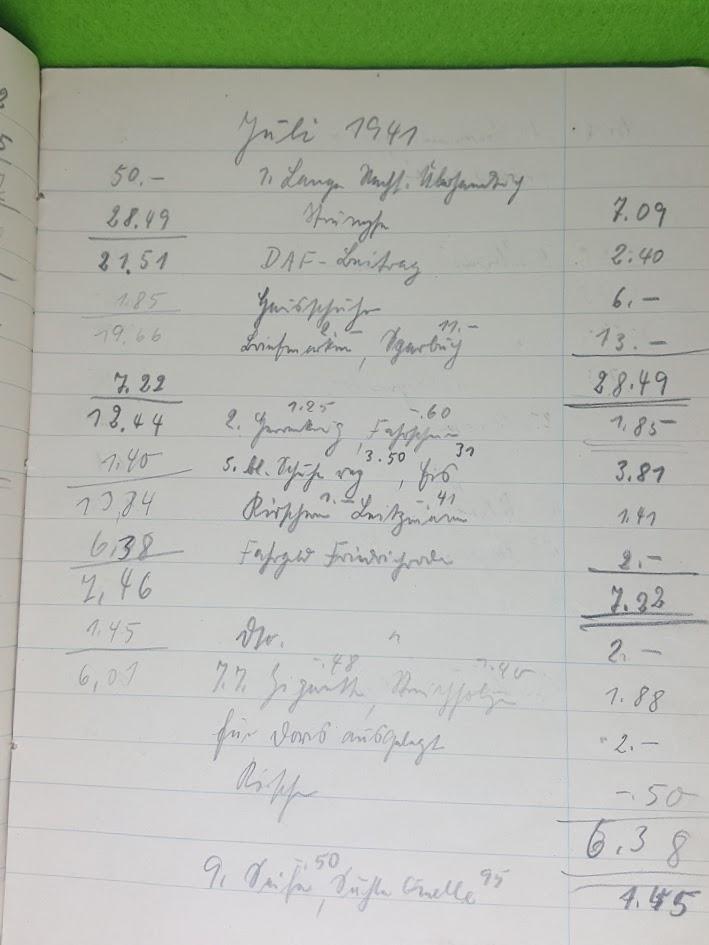 Stenoheft Charlotte Tresselt - Kassenbuch - Juli 1941