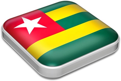 Flag of Togo with metallic square frame
