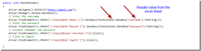 Data driven tests using MSTest & Selenium