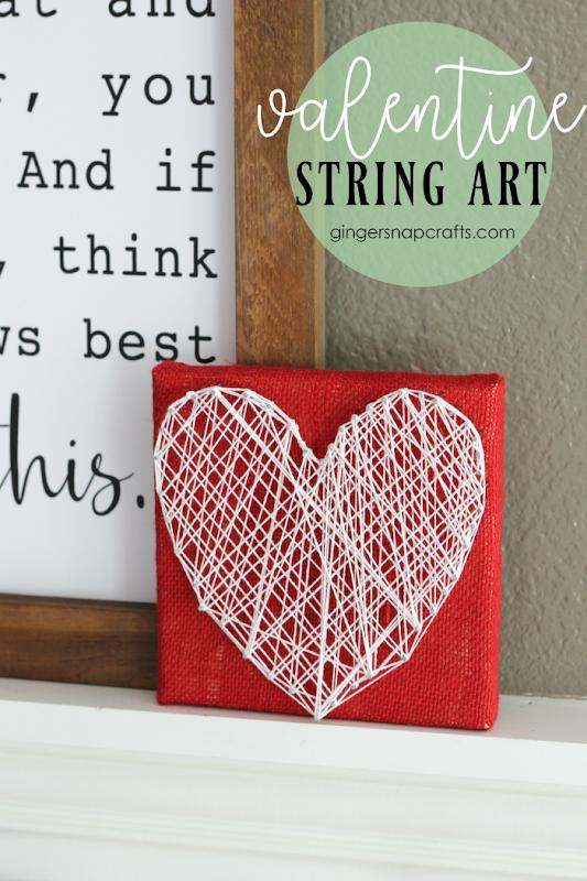 Valentine String Art at GingerSnapCrafts.com #valentine #valentinecrafts