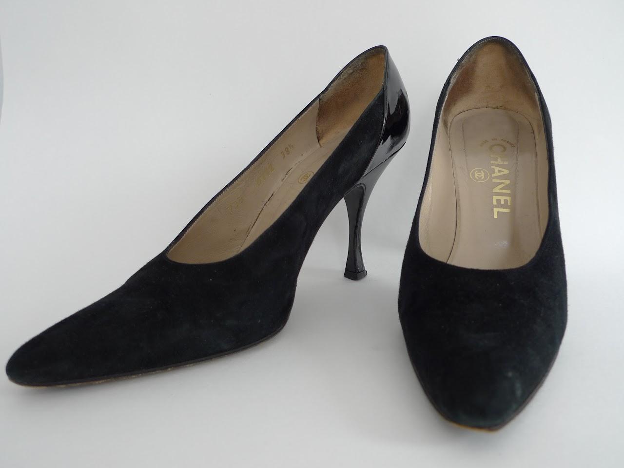 Chanel Black Suede Pumps