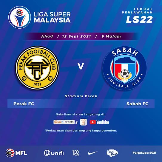 Live Streaming Perak vs Sabah 12.9.2021