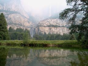 Yosemite Falls in smoke