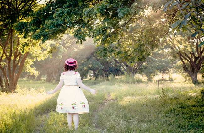Vintage girl on a sunset road | Lavender & Twill