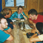1999.07 Paul Crowsley, Allan Yeend, Toto Gronlund, Richard Broadhead and Jill Giles at the Vignettews Hut.jpg