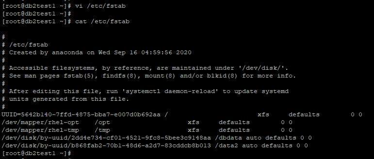 /etc/fstab output